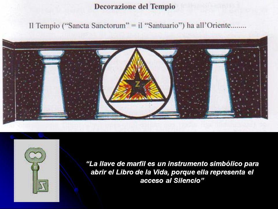 La llave de marfil es un instrumento simbólico para abrir el Libro de la Vida, porque ella representa el acceso al Silencio