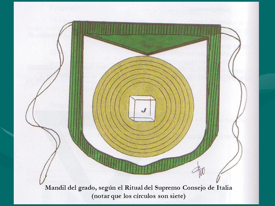 Mandil del grado, según el Ritual del Supremo Consejo de Italia (notar que los círculos son siete)