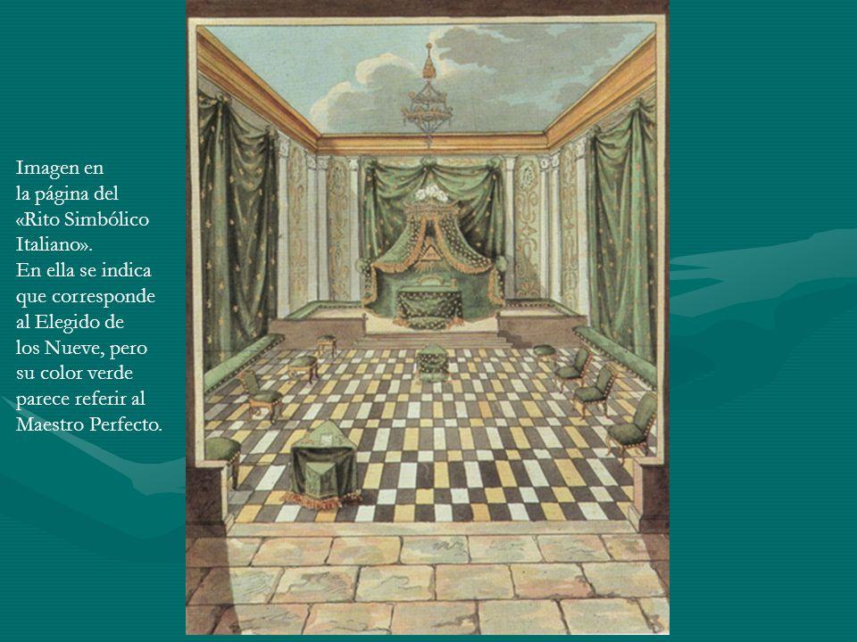 Imagen en la página del «Rito Simbólico Italiano». En ella se indica que corresponde al Elegido de los Nueve, pero su color verde parece referir al Ma