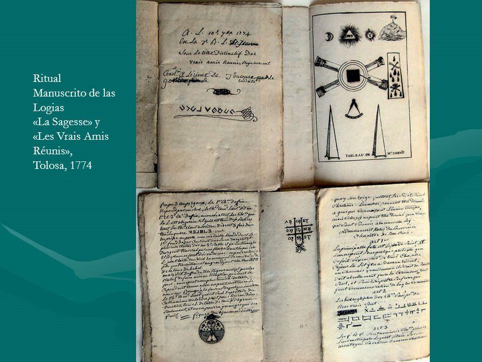 Ritual Manuscrito de las Logias «La Sagesse» y «Les Vrais Amis Réunis», Tolosa, 1774