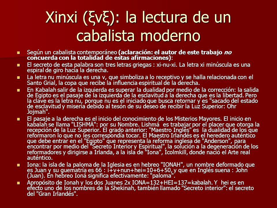 Xinxi (ξνξ): la lectura de un cabalista moderno Según un cabalista contemporáneo (aclaración: el autor de este trabajo no concuerda con la totalidad d