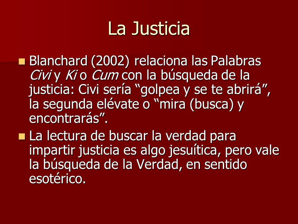 La Justicia Blanchard (2002) relaciona las Palabras Civi y Ki o Cum con la búsqueda de la justicia: Civi sería golpea y se te abrirá, la segunda eléva