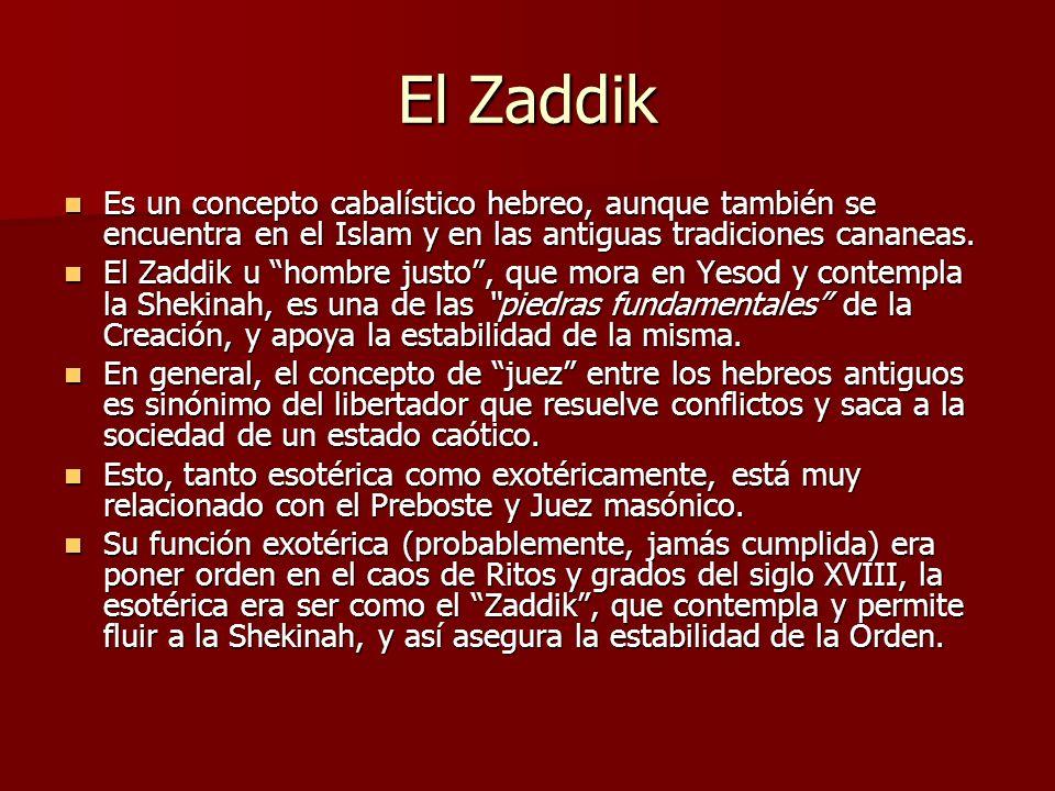 El Zaddik Es un concepto cabalístico hebreo, aunque también se encuentra en el Islam y en las antiguas tradiciones cananeas. Es un concepto cabalístic