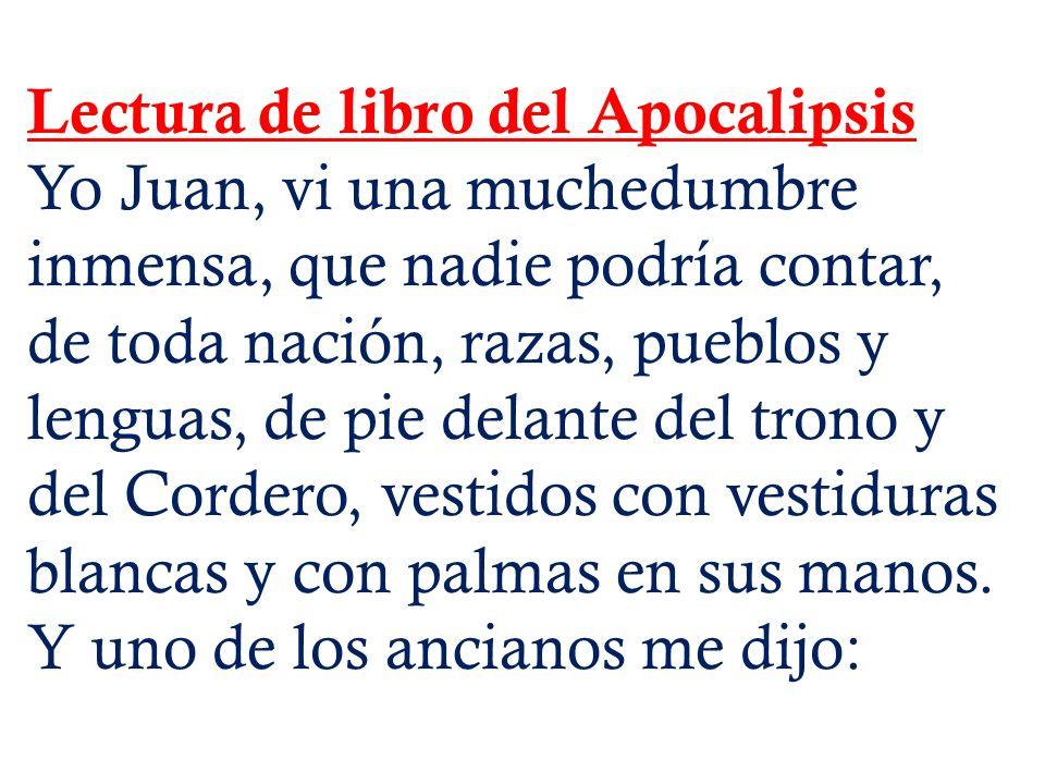 Lectura de libro del Apocalipsis Yo Juan, vi una muchedumbre inmensa, que nadie podría contar, de toda nación, razas, pueblos y lenguas, de pie delant