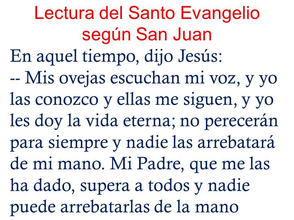 Lectura del Santo Evangelio según San Juan En aquel tiempo, dijo Jesús: -- Mis ovejas escuchan mi voz, y yo las conozco y ellas me siguen, y yo les do