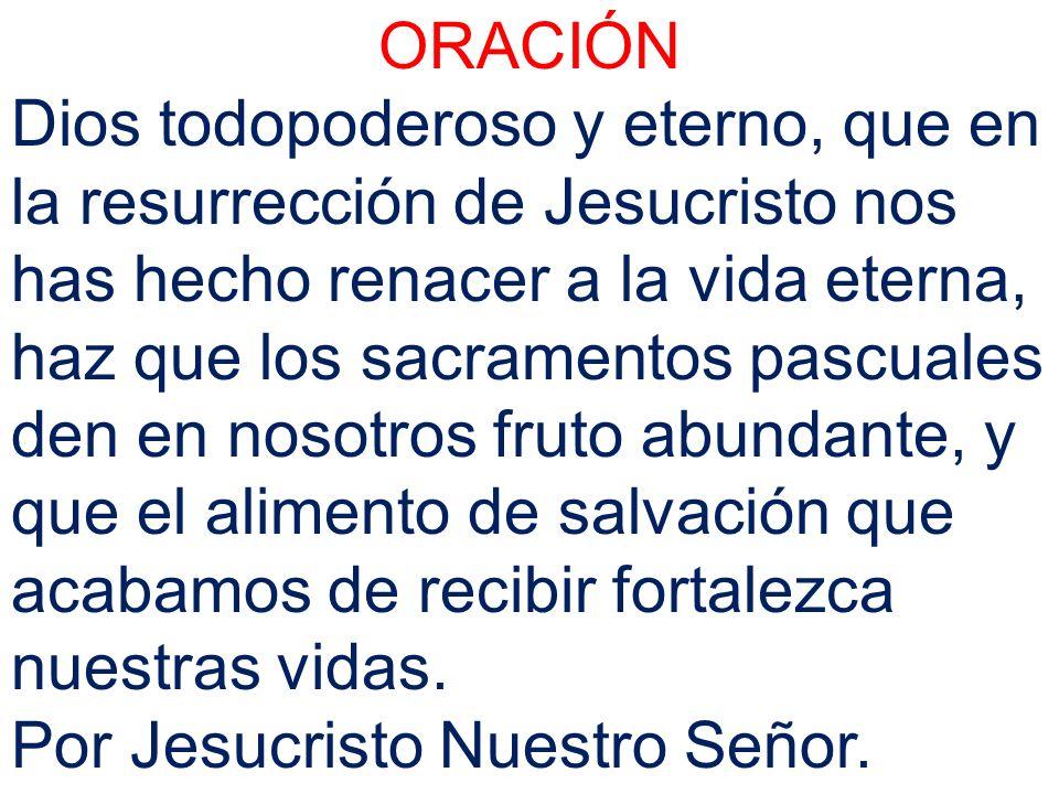 ORACIÓN Dios todopoderoso y eterno, que en la resurrección de Jesucristo nos has hecho renacer a la vida eterna, haz que los sacramentos pascuales den