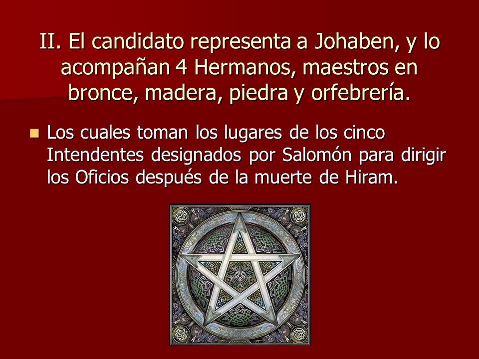 II. El candidato representa a Johaben, y lo acompañan 4 Hermanos, maestros en bronce, madera, piedra y orfebrería. Los cuales toman los lugares de los