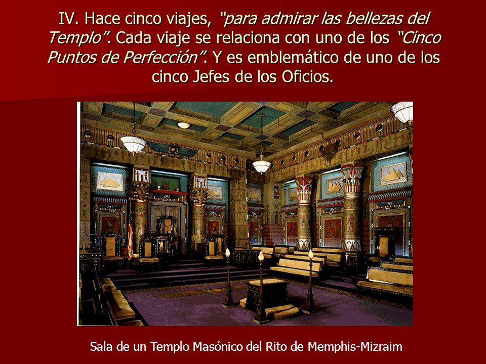 IV. Hace cinco viajes, para admirar las bellezas del Templo. Cada viaje se relaciona con uno de los Cinco Puntos de Perfección. Y es emblemático de un