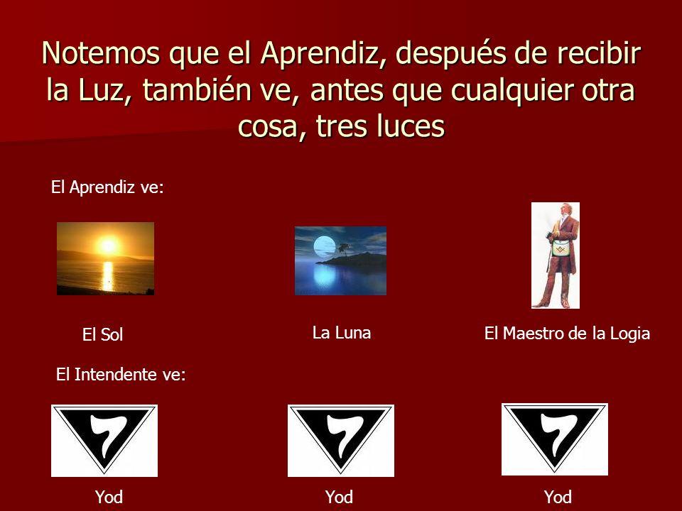 Notemos que el Aprendiz, después de recibir la Luz, también ve, antes que cualquier otra cosa, tres luces El Aprendiz ve: El Sol La Luna El Maestro de