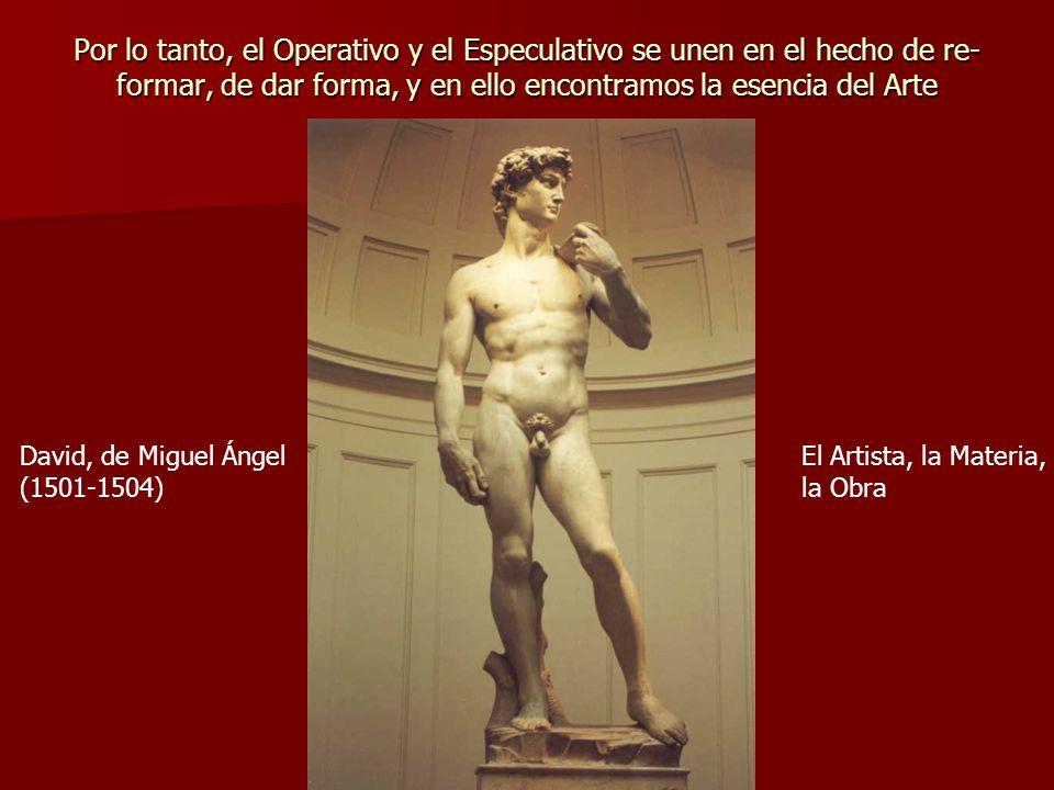 Por lo tanto, el Operativo y el Especulativo se unen en el hecho de re- formar, de dar forma, y en ello encontramos la esencia del Arte David, de Migu