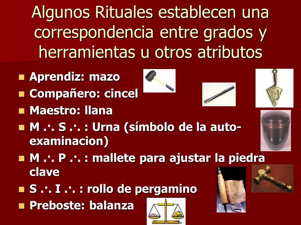 Algunos Rituales establecen una correspondencia entre grados y herramientas u otros atributos Aprendiz: mazo Aprendiz: mazo Compañero: cincel Compañer