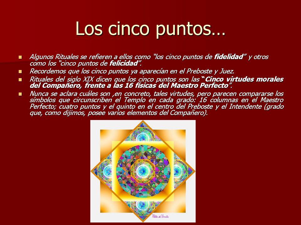 Los cinco puntos… Algunos Rituales se refieren a ellos como los cinco puntos de fidelidad y otros como los cinco puntos de felicidad. Algunos Rituales