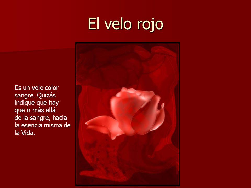 El velo rojo Es un velo color sangre. Quizás indique que hay que ir más allá de la sangre, hacia la esencia misma de la Vida.