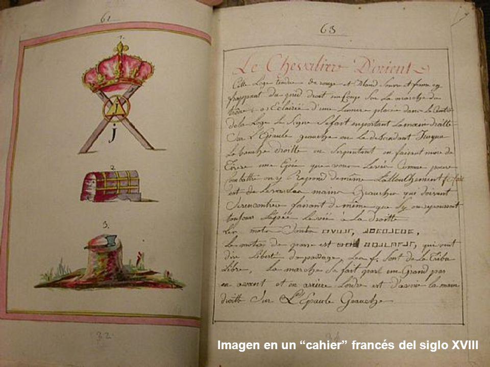 Imagen en un cahier francés del siglo XVIII