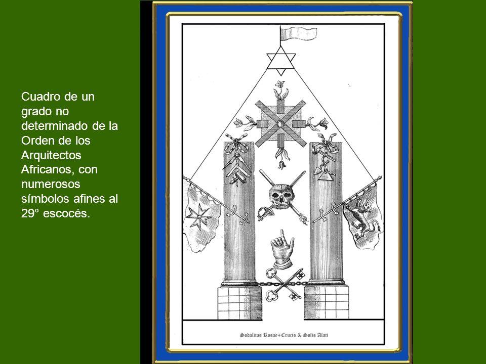 Cuadro de un grado no determinado de la Orden de los Arquitectos Africanos, con numerosos símbolos afines al 29° escocés.