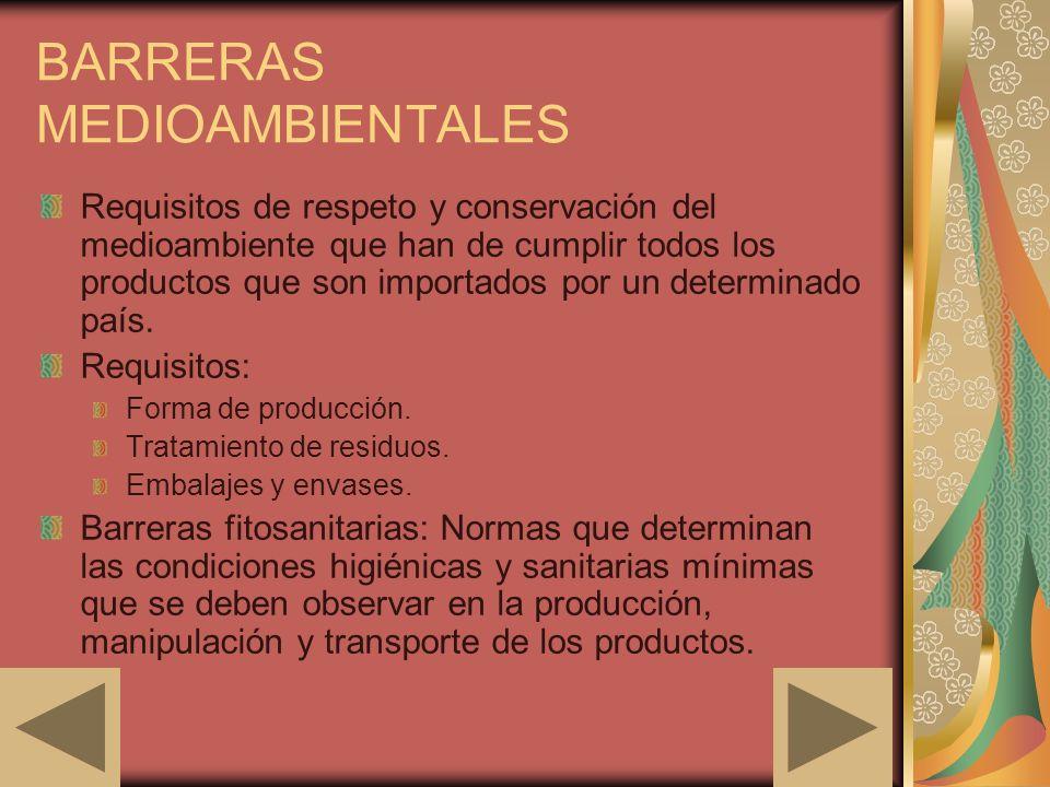 BARRERAS MEDIOAMBIENTALES Requisitos de respeto y conservación del medioambiente que han de cumplir todos los productos que son importados por un dete