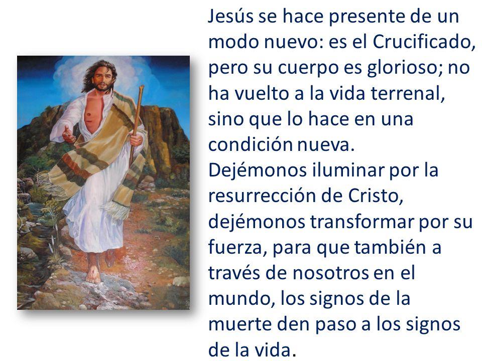 Jesús se hace presente de un modo nuevo: es el Crucificado, pero su cuerpo es glorioso; no ha vuelto a la vida terrenal, sino que lo hace en una condi