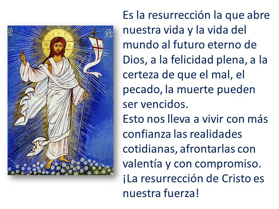 Es la resurrección la que abre nuestra vida y la vida del mundo al futuro eterno de Dios, a la felicidad plena, a la certeza de que el mal, el pecado,