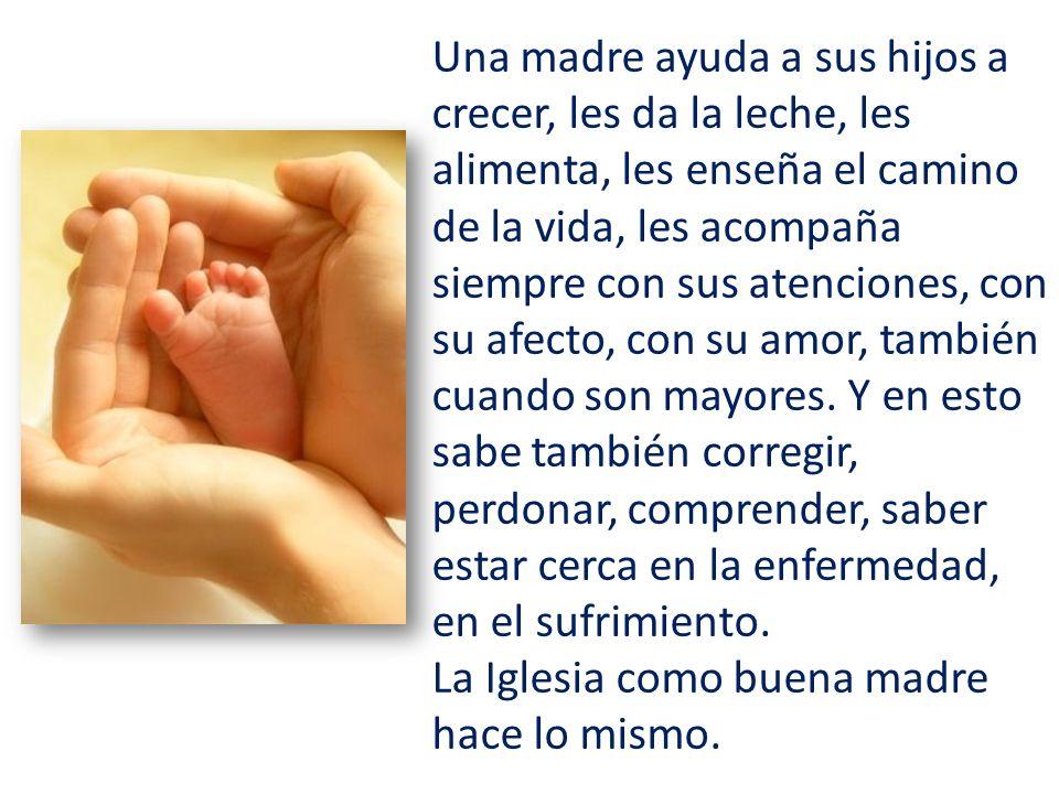 Una madre ayuda a sus hijos a crecer, les da la leche, les alimenta, les enseña el camino de la vida, les acompaña siempre con sus atenciones, con su afecto, con su amor, también cuando son mayores.