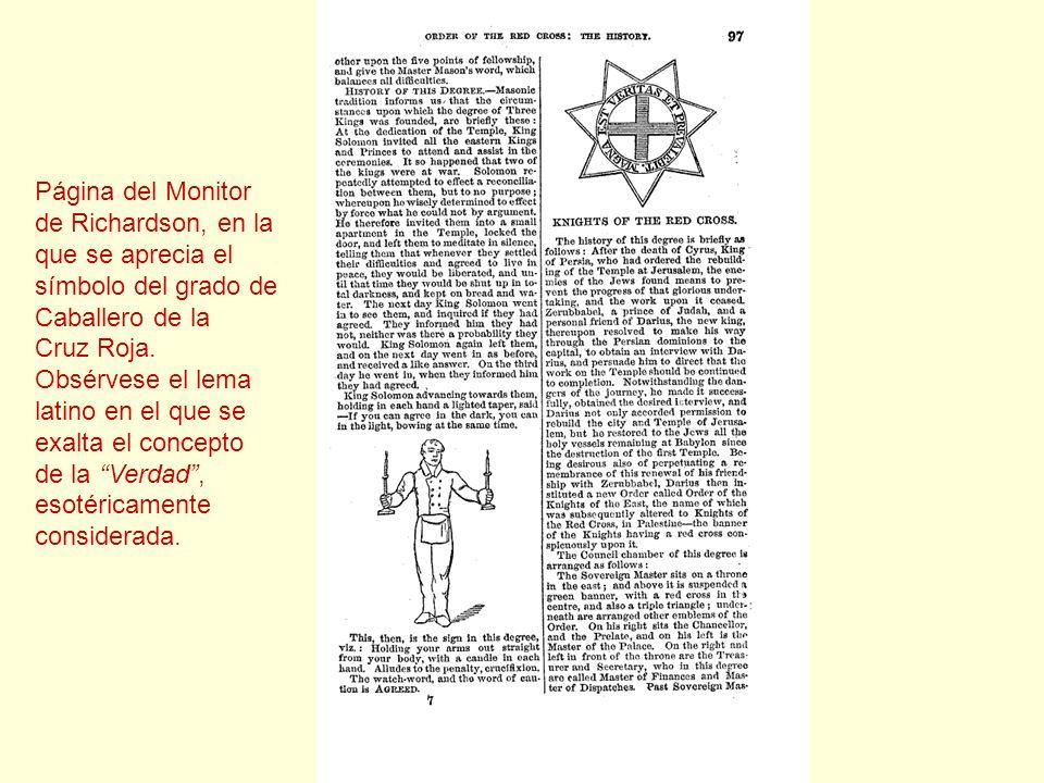 Página del Monitor de Richardson, en la que se aprecia el símbolo del grado de Caballero de la Cruz Roja. Obsérvese el lema latino en el que se exalta