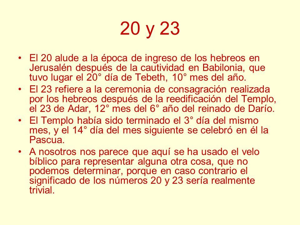 20 y 23 El 20 alude a la época de ingreso de los hebreos en Jerusalén después de la cautividad en Babilonia, que tuvo lugar el 20° día de Tebeth, 10°