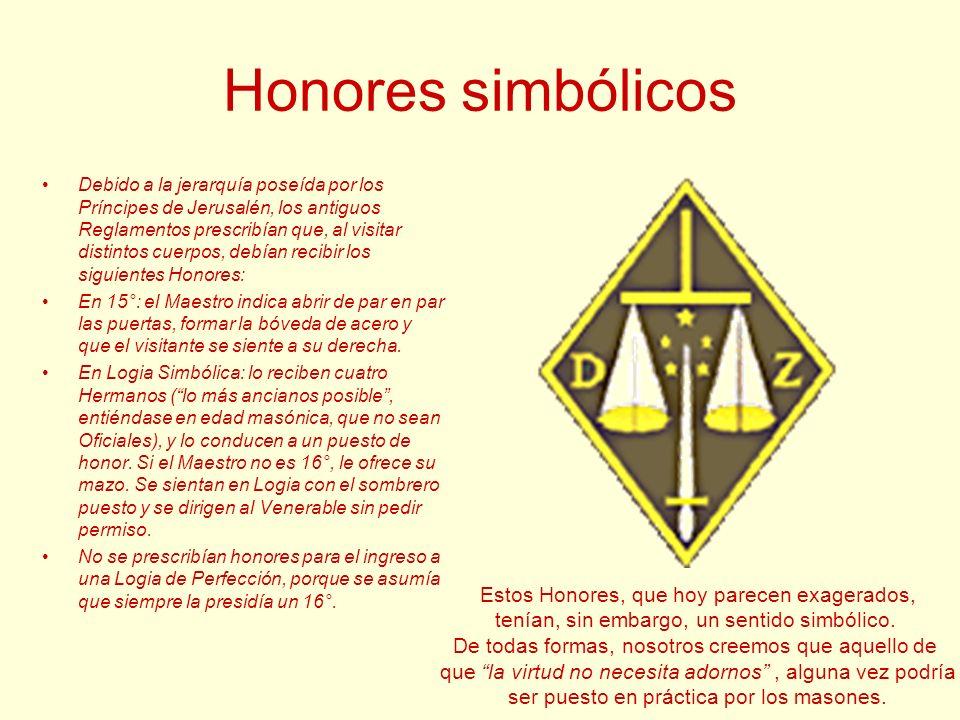 Honores simbólicos Debido a la jerarquía poseída por los Príncipes de Jerusalén, los antiguos Reglamentos prescribían que, al visitar distintos cuerpo