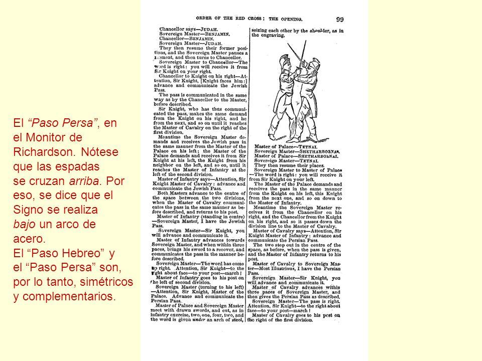 El Paso Persa, en el Monitor de Richardson. Nótese que las espadas se cruzan arriba. Por eso, se dice que el Signo se realiza bajo un arco de acero. E