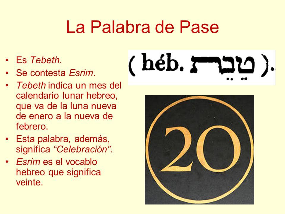 La Palabra de Pase Es Tebeth. Se contesta Esrim. Tebeth indica un mes del calendario lunar hebreo, que va de la luna nueva de enero a la nueva de febr