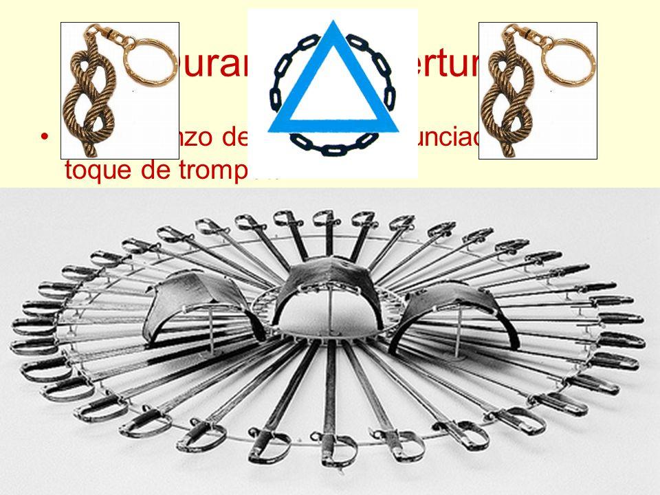 Durante la Apertura El comienzo del Ritual es anunciado por un toque de trompeta. Los Caballeros se forman en dos filas, presentan armas y estas son i