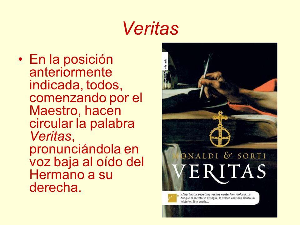 Veritas En la posición anteriormente indicada, todos, comenzando por el Maestro, hacen circular la palabra Veritas, pronunciándola en voz baja al oído