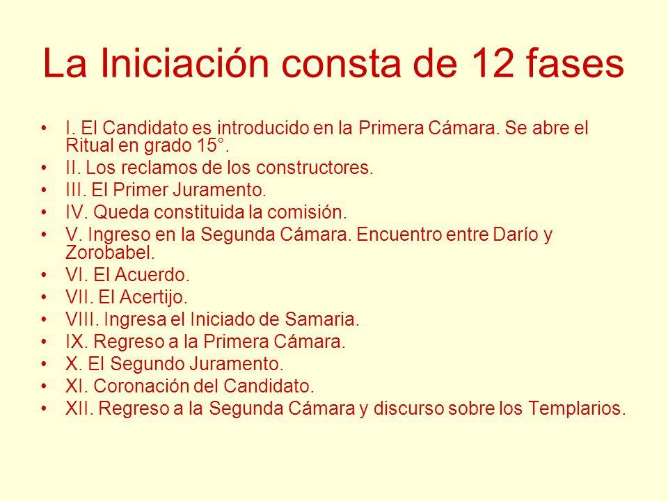 La Iniciación consta de 12 fases I. El Candidato es introducido en la Primera Cámara. Se abre el Ritual en grado 15°. II. Los reclamos de los construc