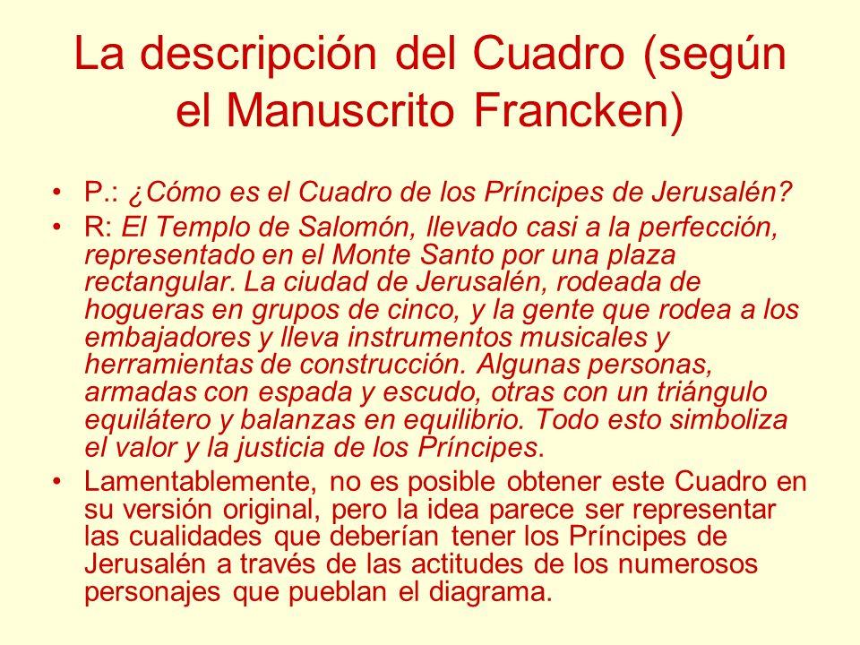 La descripción del Cuadro (según el Manuscrito Francken) P.: ¿Cómo es el Cuadro de los Príncipes de Jerusalén? R: El Templo de Salomón, llevado casi a