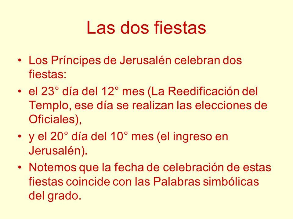 Las dos fiestas Los Príncipes de Jerusalén celebran dos fiestas: el 23° día del 12° mes (La Reedificación del Templo, ese día se realizan las eleccion