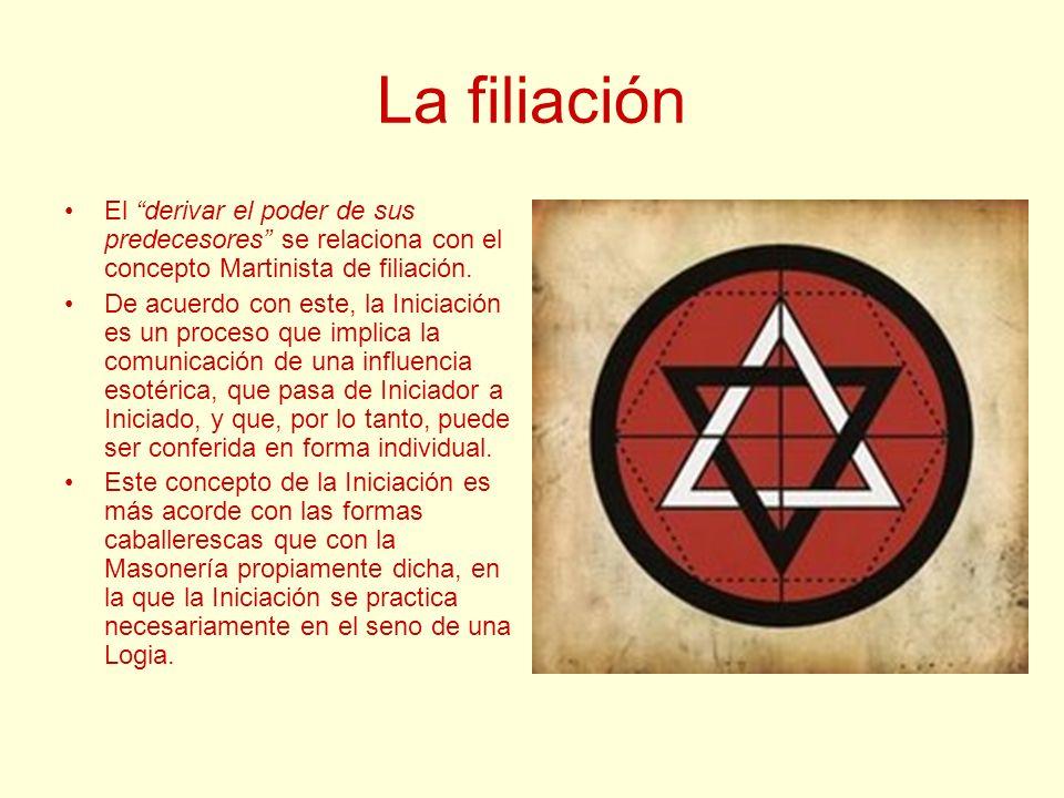 La filiación El derivar el poder de sus predecesores se relaciona con el concepto Martinista de filiación. De acuerdo con este, la Iniciación es un pr