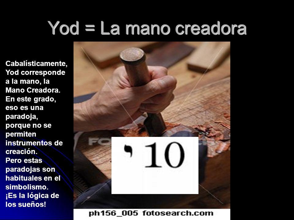 Yod = La mano creadora Cabalísticamente, Yod corresponde a la mano, la Mano Creadora. En este grado, eso es una paradoja, porque no se permiten instru