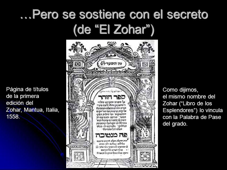 …Pero se sostiene con el secreto (de El Zohar) Página de títulos de la primera edición del Zohar, Mantua, Italia, 1558. Como dijimos, el mismo nombre