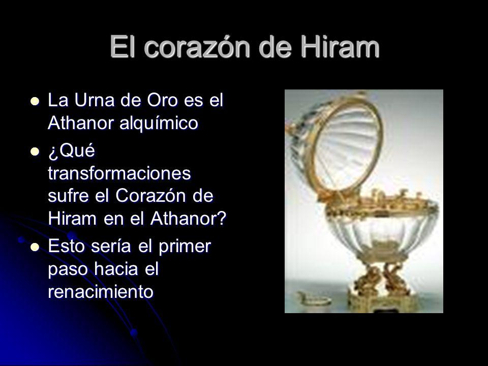 El corazón de Hiram La Urna de Oro es el Athanor alquímico La Urna de Oro es el Athanor alquímico ¿Qué transformaciones sufre el Corazón de Hiram en e