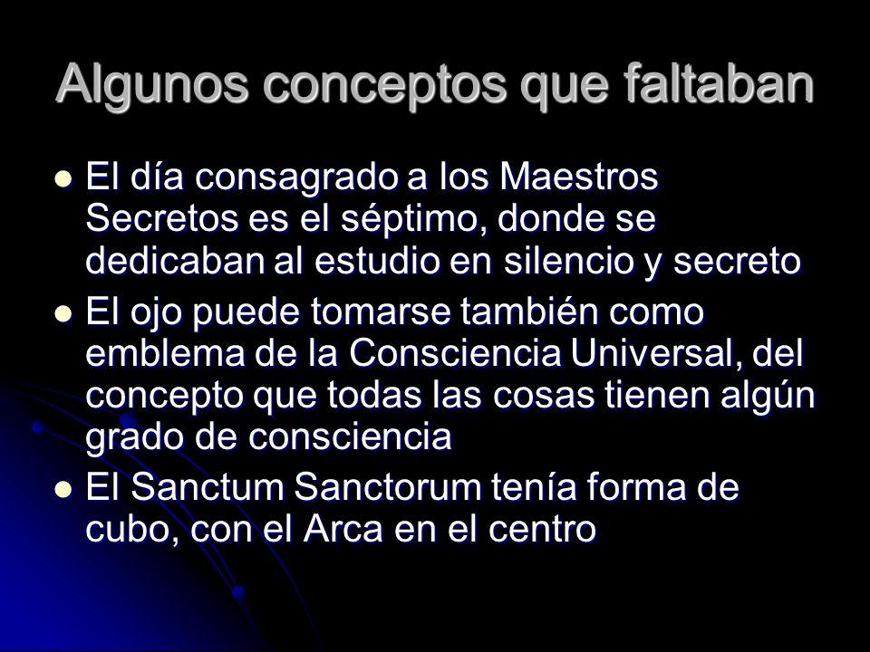 Algunos conceptos que faltaban El día consagrado a los Maestros Secretos es el séptimo, donde se dedicaban al estudio en silencio y secreto El día con