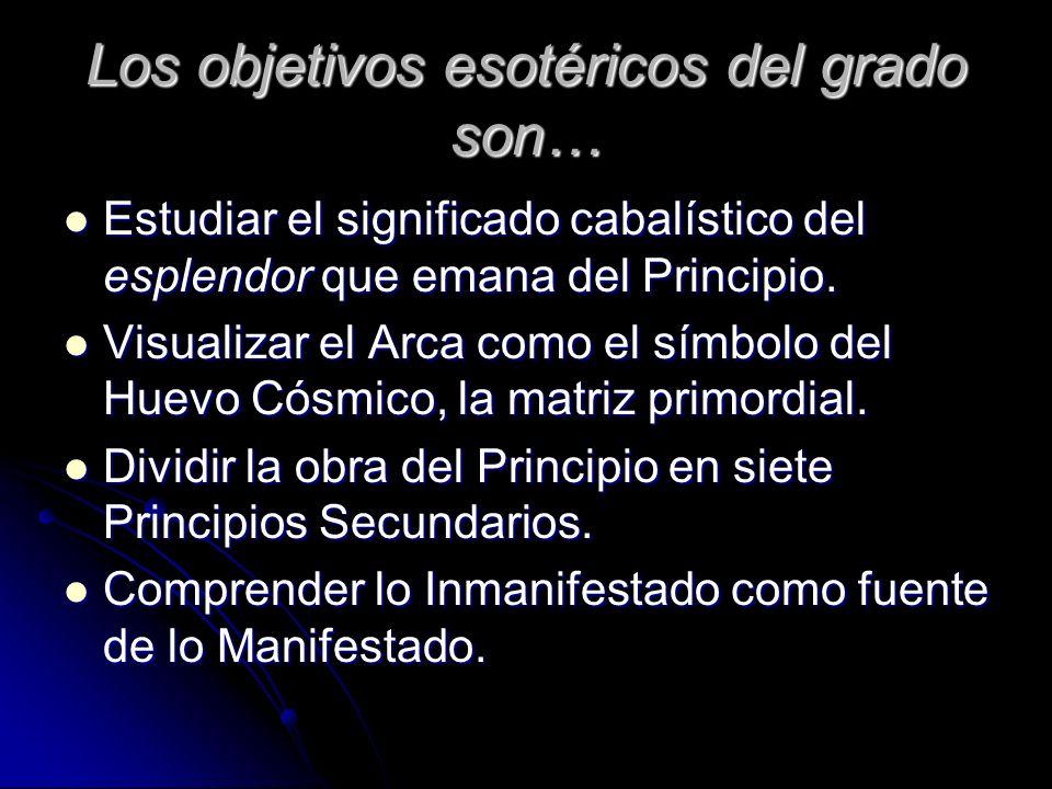 Los objetivos esotéricos del grado son… Estudiar el significado cabalístico del esplendor que emana del Principio. Estudiar el significado cabalístico