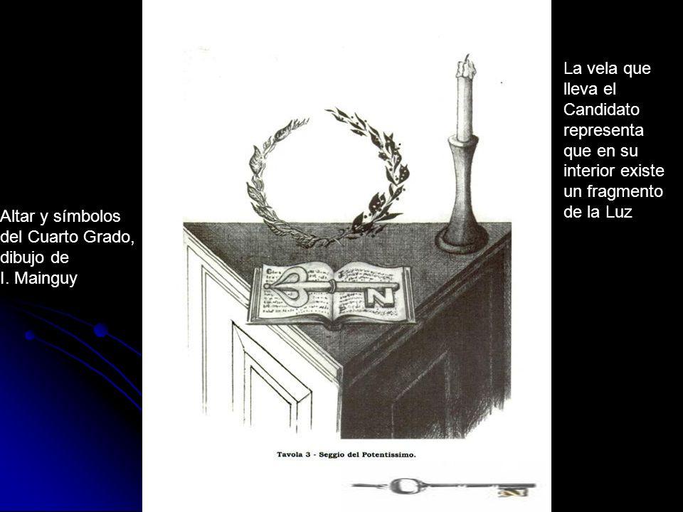 Altar y símbolos del Cuarto Grado, dibujo de I. Mainguy La vela que lleva el Candidato representa que en su interior existe un fragmento de la Luz