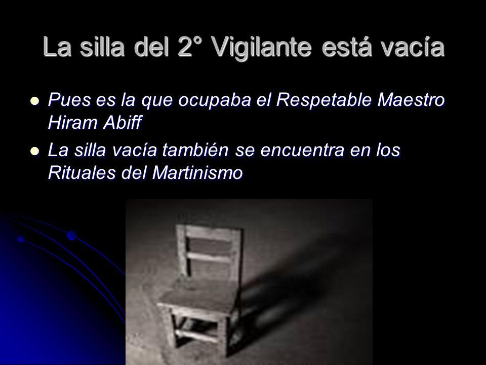 La silla del 2° Vigilante está vacía Pues es la que ocupaba el Respetable Maestro Hiram Abiff Pues es la que ocupaba el Respetable Maestro Hiram Abiff