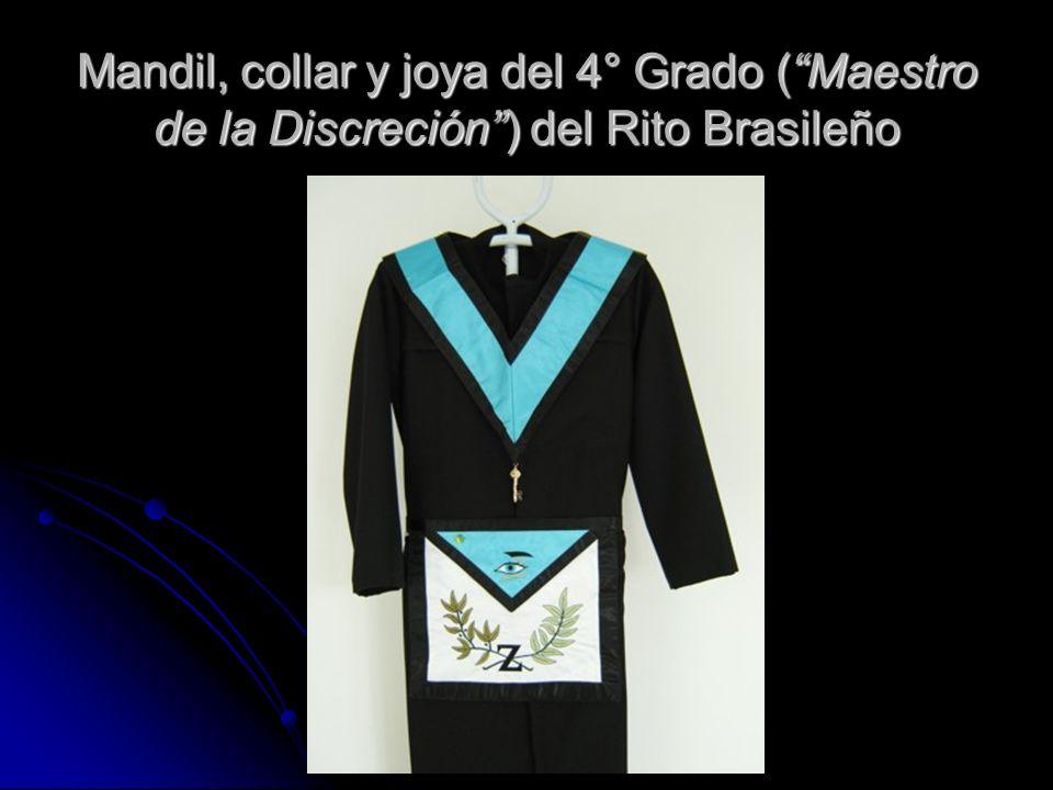Mandil, collar y joya del 4° Grado (Maestro de la Discreción) del Rito Brasileño