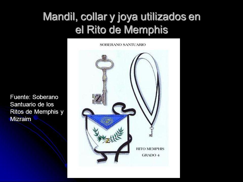 Mandil, collar y joya utilizados en el Rito de Memphis Fuente: Soberano Santuario de los Ritos de Memphis y Mizraim