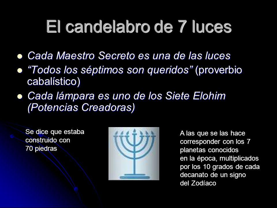 El candelabro de 7 luces Cada Maestro Secreto es una de las luces Cada Maestro Secreto es una de las luces Todos los séptimos son queridos (proverbio
