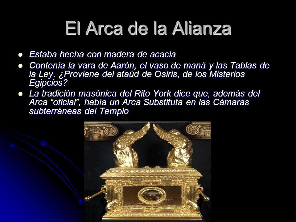El Arca de la Alianza Estaba hecha con madera de acacia Estaba hecha con madera de acacia Contenía la vara de Aarón, el vaso de maná y las Tablas de l