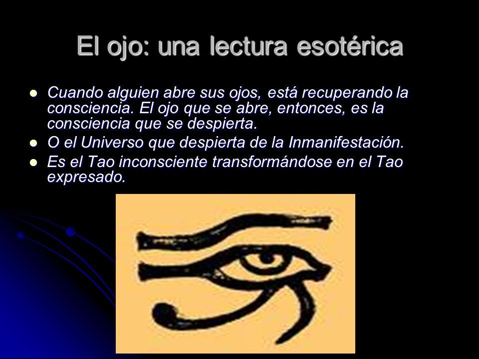 El ojo: una lectura esotérica Cuando alguien abre sus ojos, está recuperando la consciencia. El ojo que se abre, entonces, es la consciencia que se de