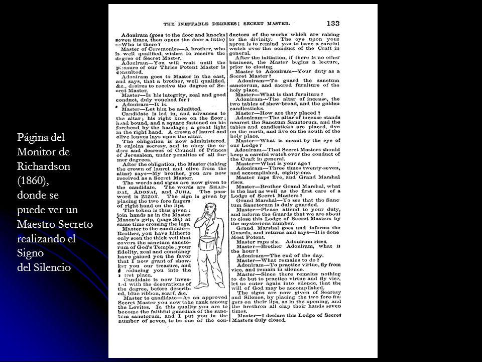 Página del Monitor de Richardson (1860), donde se puede ver un Maestro Secreto realizando el Signo del Silencio