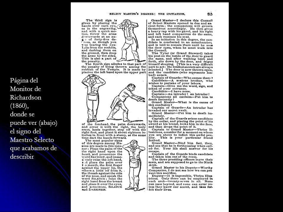 Página del Monitor de Richardson (1860), donde se puede ver (abajo) el signo del Maestro Selecto que acabamos de describir