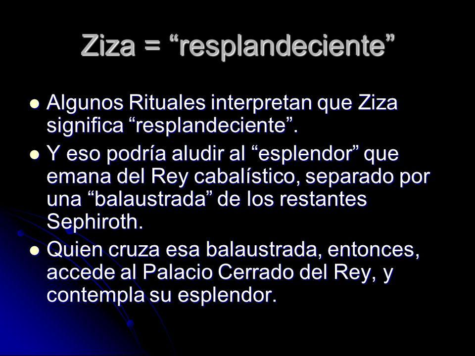 Ziza = resplandeciente Algunos Rituales interpretan que Ziza significa resplandeciente. Algunos Rituales interpretan que Ziza significa resplandecient