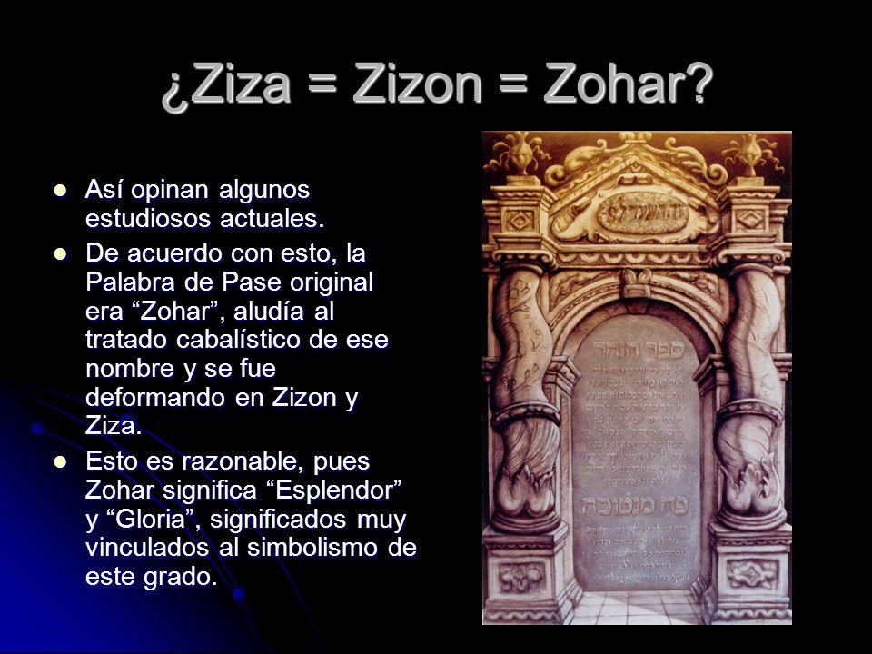 ¿Ziza = Zizon = Zohar? Así opinan algunos estudiosos actuales. Así opinan algunos estudiosos actuales. De acuerdo con esto, la Palabra de Pase origina